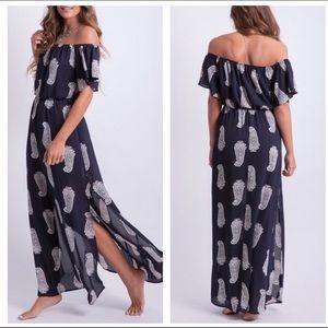 Paisley print off the shoulder maxi dress